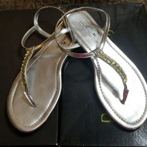 Silver Sandals with Rhinestones